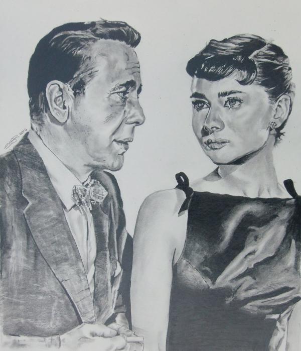 Audrey Hepburn, Humphrey Bogart by jonesy12